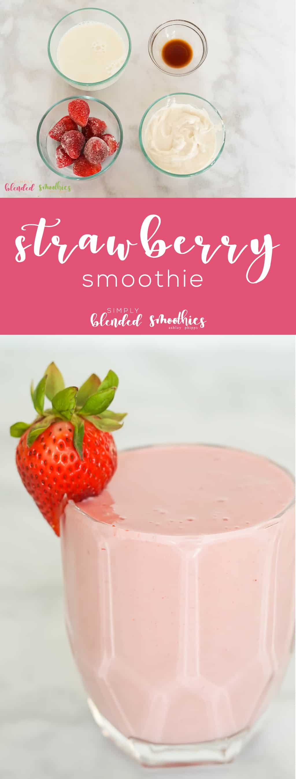 A delcious and healthy Strawberry Smoothie recipe that only takes 4 ingredients to make
