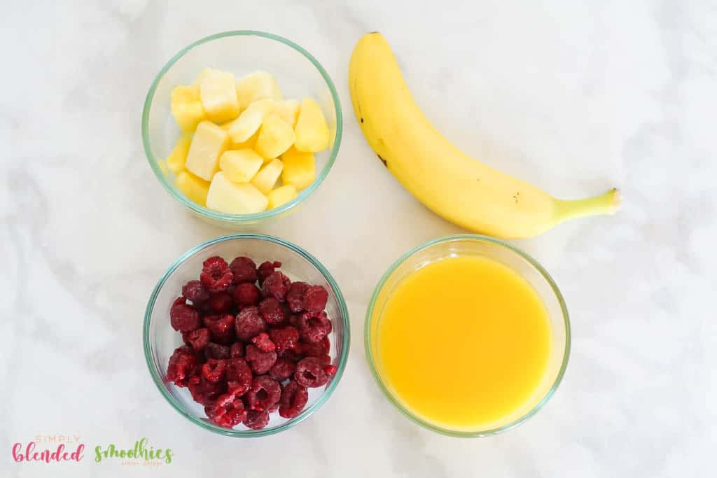 Pineapple Raspberry Smoothie ingredients