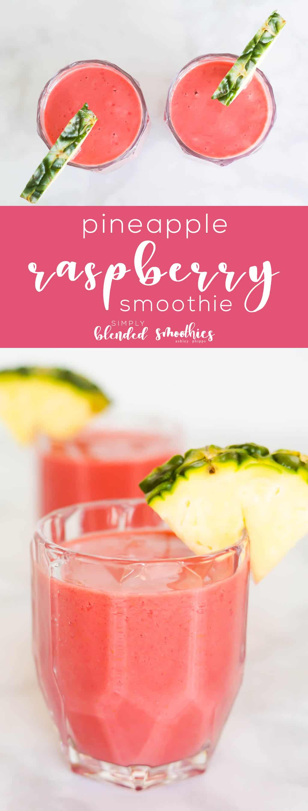 Pineapple Raspberry Smoothie Recipe - this 4 ingredient smoothie is full of flavor is healthy and is a great way to start your day