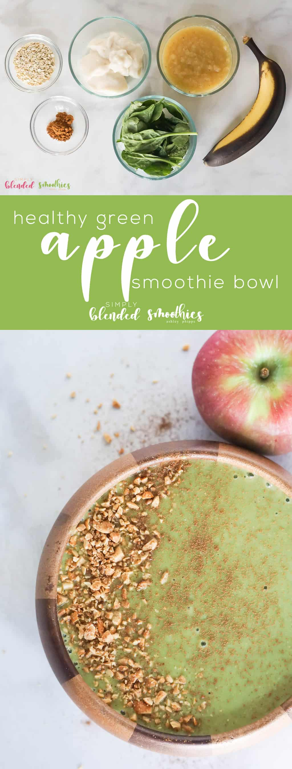 Green Apple Smoothie Bowl Recipe - this smoothie bowl recipe is filling and perfect for breakfast