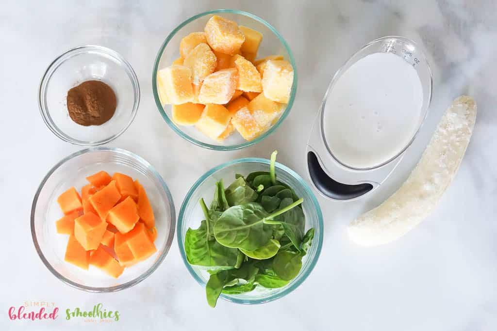 Green Sweet Potato Smoothie Ingredients