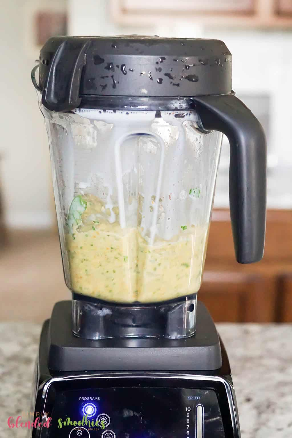 Green Sweet Potato Smoothie in a blender