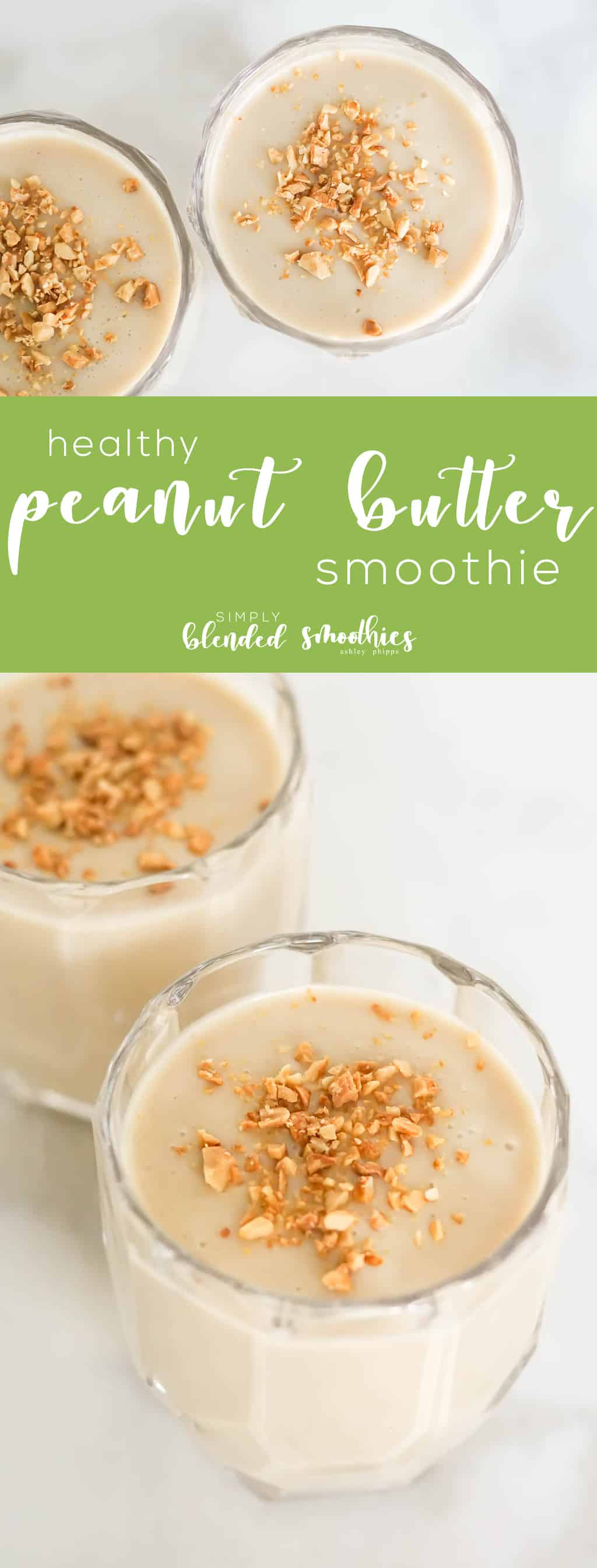 Healthy Peanut Butter Smoothie Recipe - this PB Smoothie recipe is so delicious and perfect for a quick breakfast