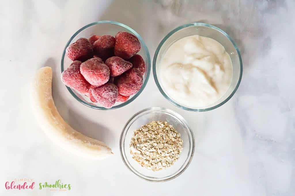 Strawberry Oatmeal Smoothie Bowl Ingredients