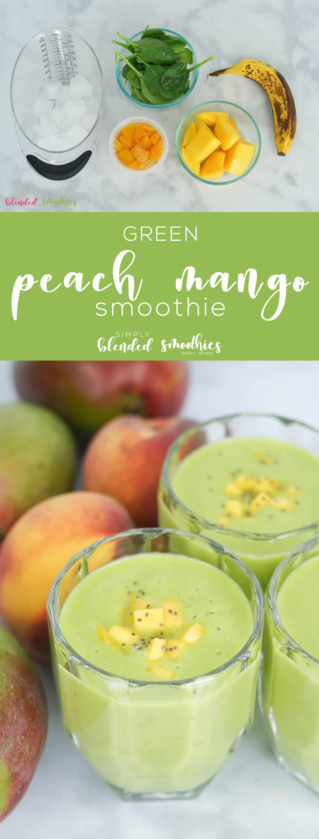 Green Peach Mango Smoothie - This delicious Green Peach Mango Smoothie tastes like a tropical treat and is a healthy and nutrient-rich was to begin your day