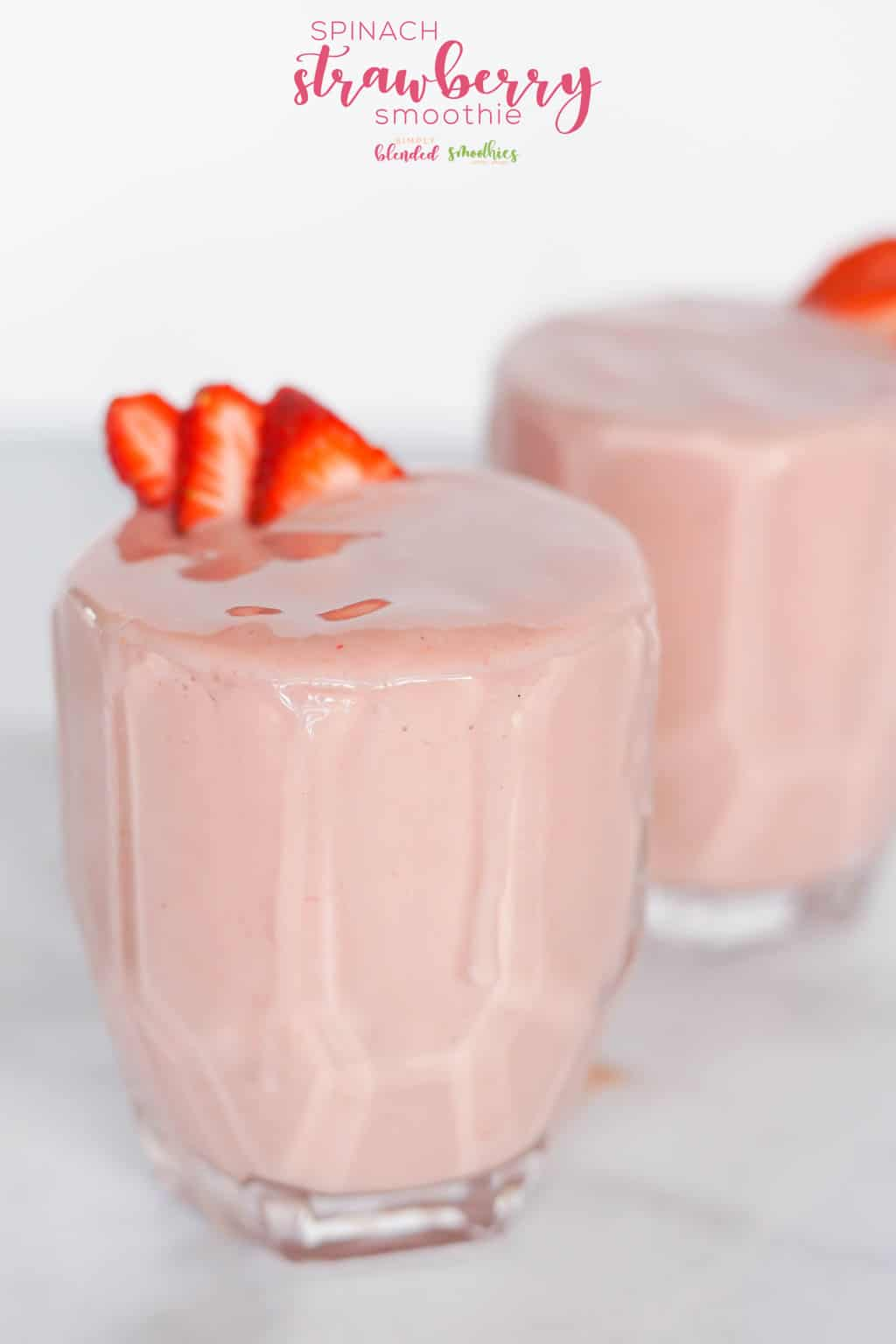 Strawberry Spinach Smoothie - this easy recipe is delicious and is a great way to get some greens in your diet without tasting them