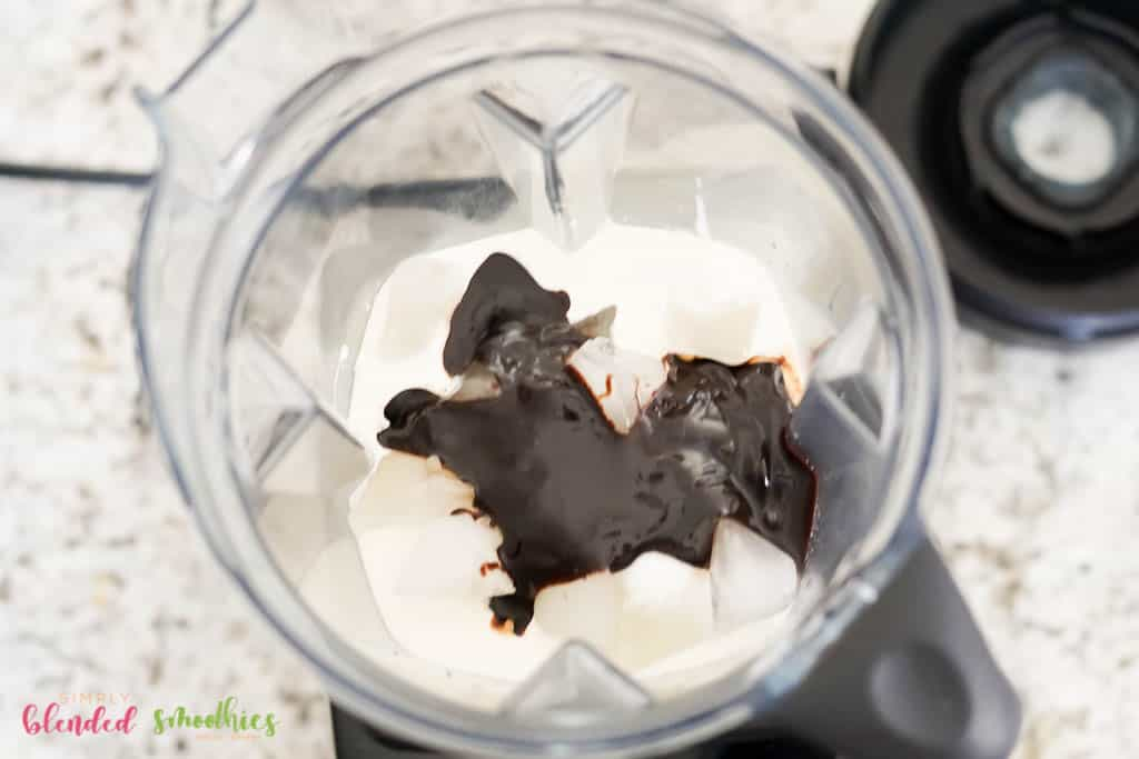 Ingredients In A Blender For A Chocolate Frappe