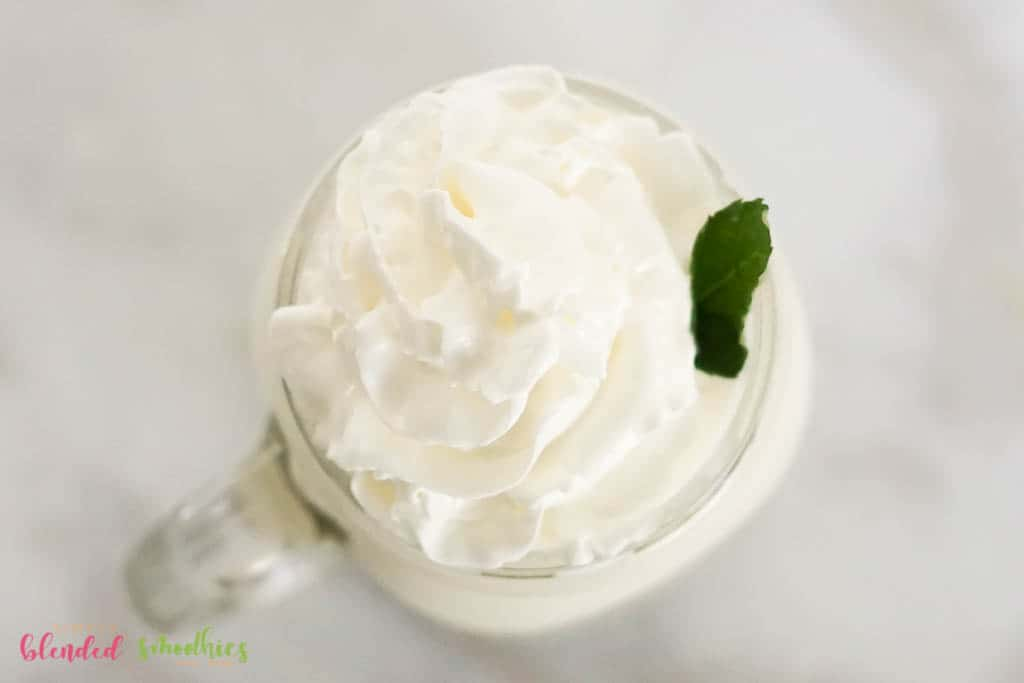 Homemade Vanilla Frappuccino with whipped cream on top