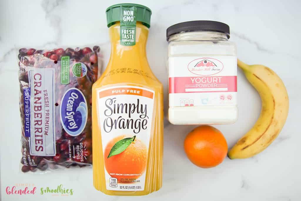 ingredients for cranberry orange healthy smoothie