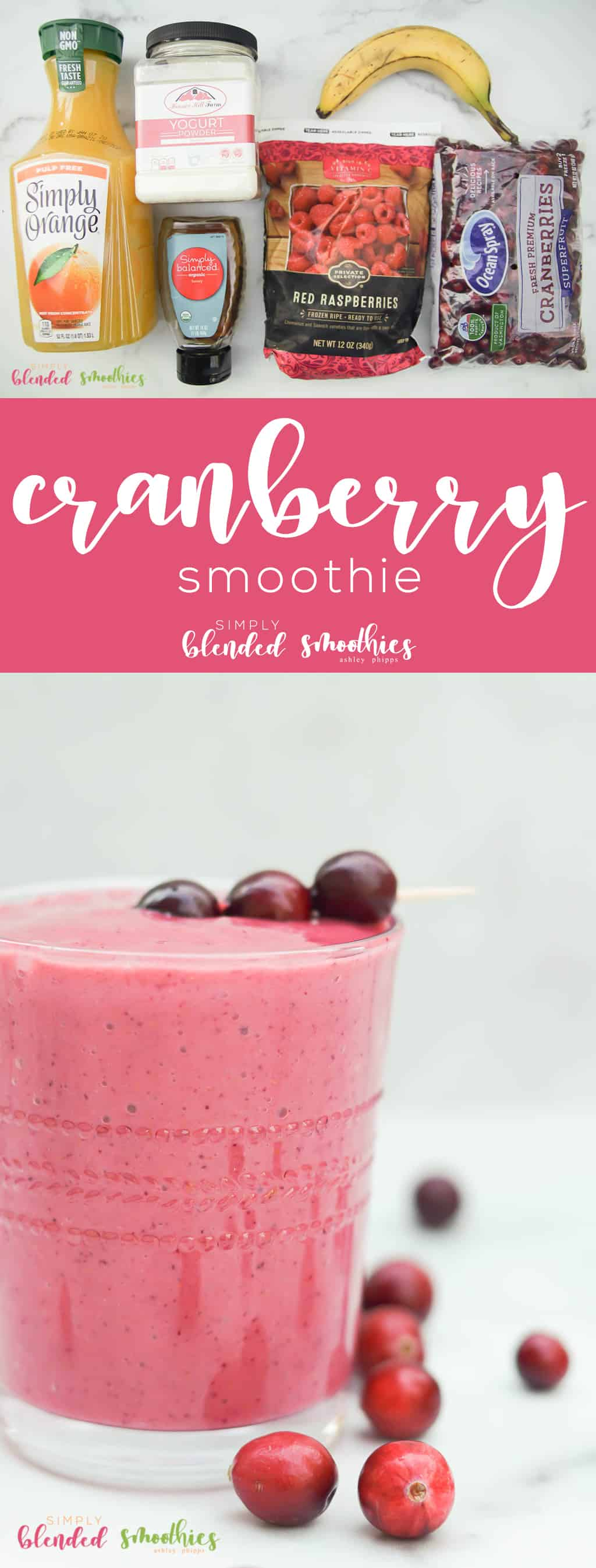 Cranberry Smoothie Recipe with Ingredients
