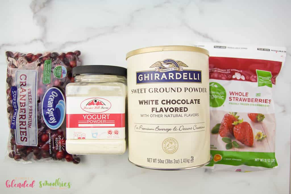 ingredients to make a cranberry truffle smoothie