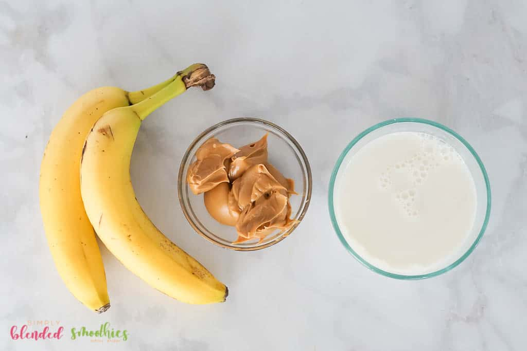 Peanut Butter Banana Smoothie ingredients - banana peanut butter and milk