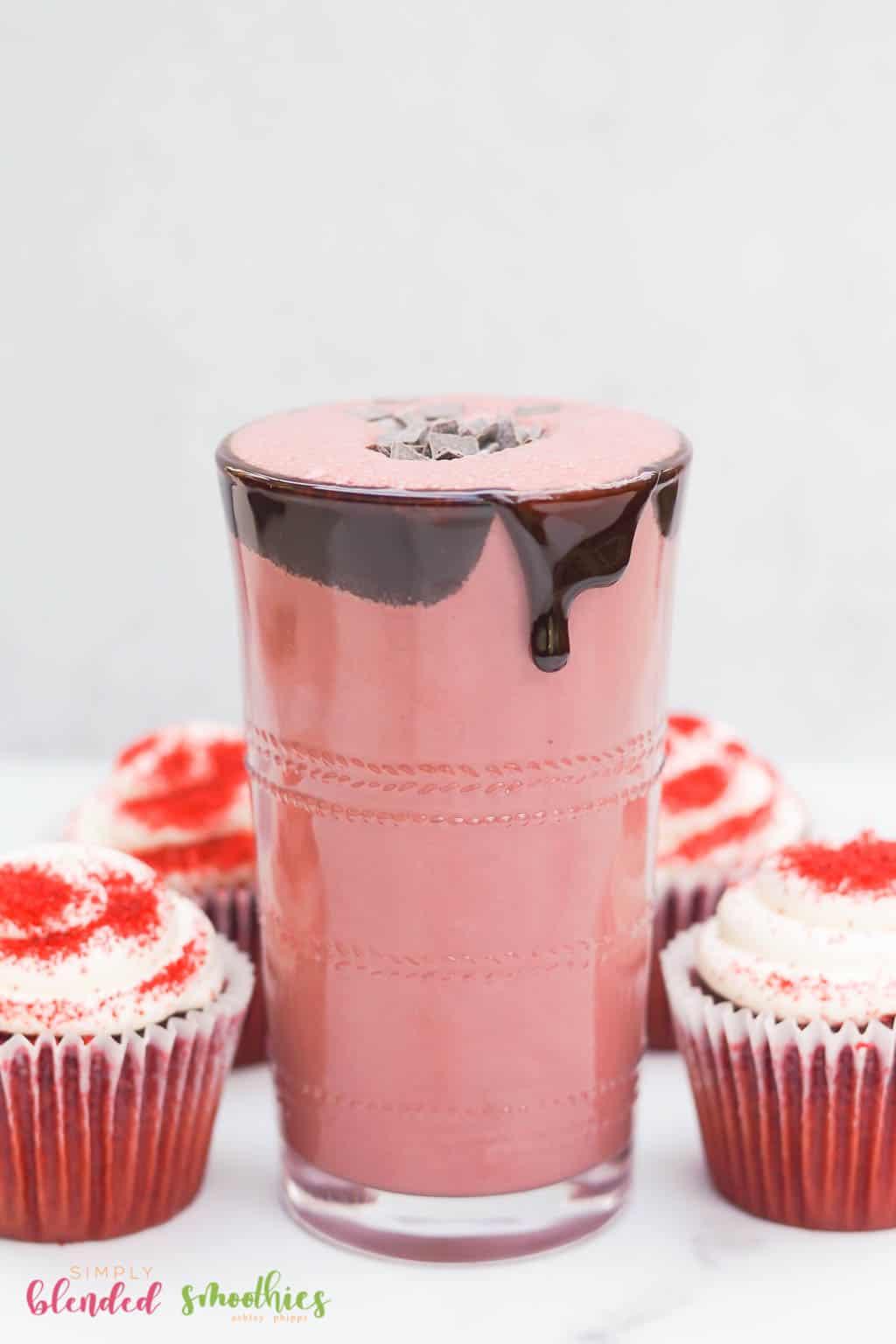 Red Velvet Milkshake with red velvet cupcakes