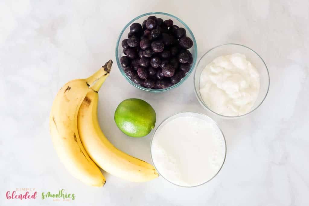 ingredients for healthy blueberry smoothie