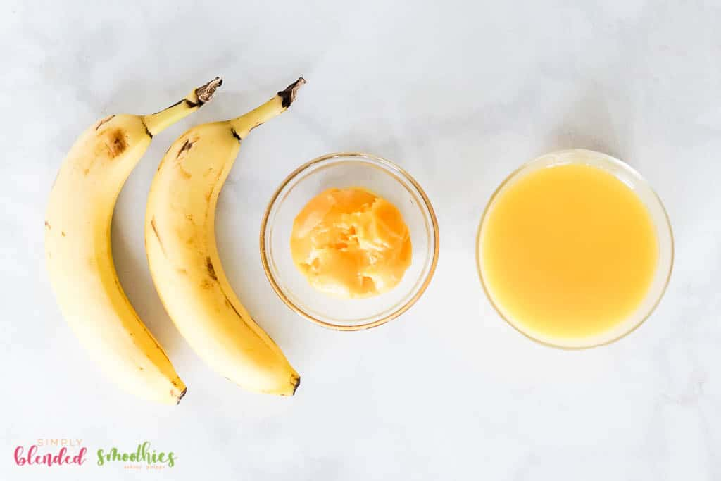ingredients for a banana orange smoothie