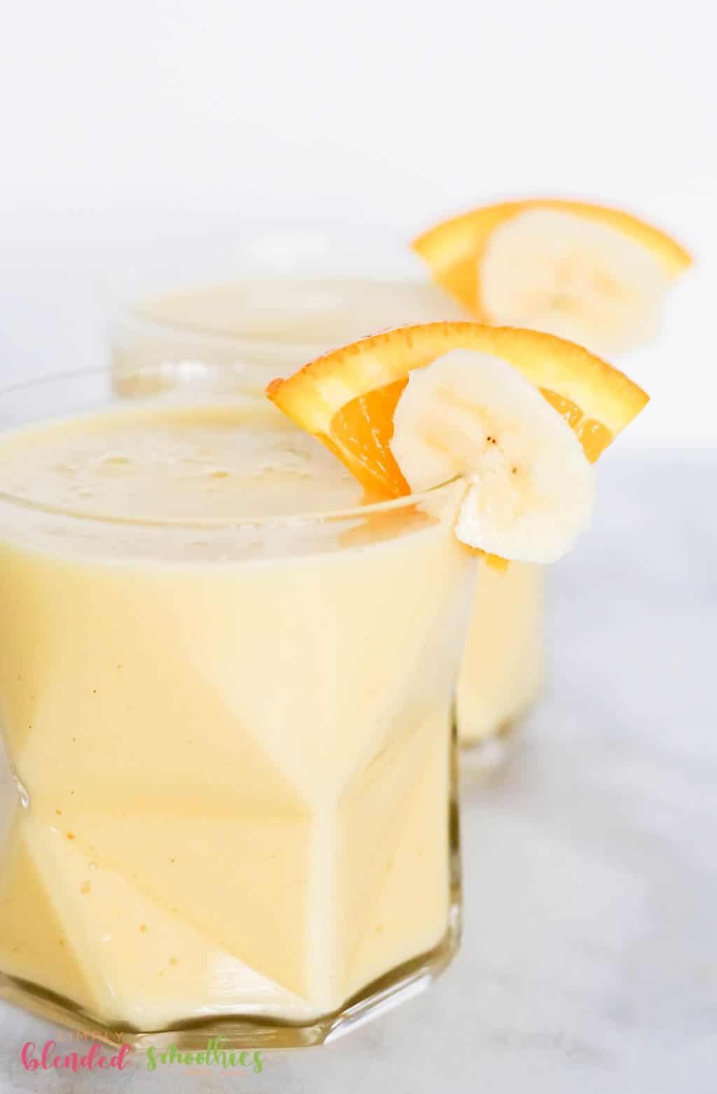 Orange Banana Smoothie Recipe With Oranges And Bananas As Garnish