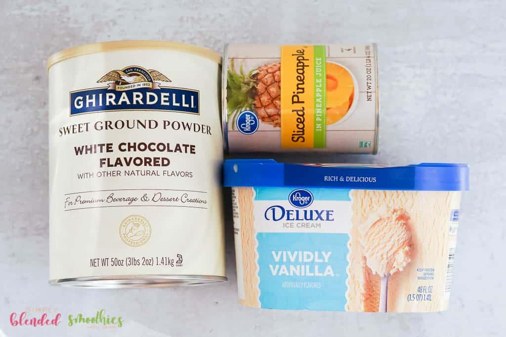 ingredients for a delicious pineapple milkshake