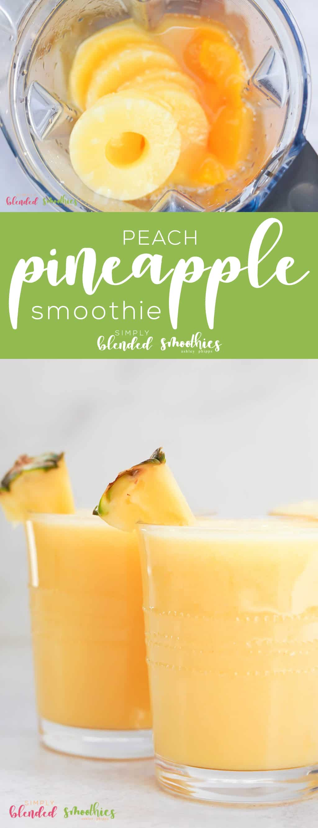 This Peach Pineapple Smoothie is a delicious smoothie that can be made with fresh frozen or canned fruits and is perfect for breakfast or a snack